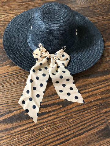Black-Tan Polka Dot Bow Scarf Straw Floppy Hat