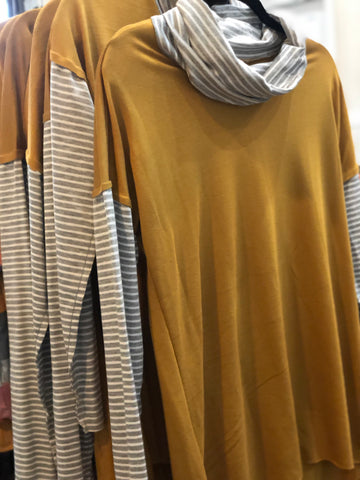 Mustard Grey Striped Cowl Neck Tunic