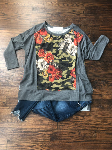 Camo Floral High Low Solid Trim