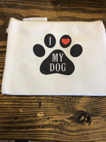 I Love My Dog Zip Bag