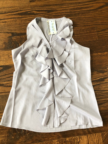 Sweet Lavender Ruffled Button Up Sleeveless Top