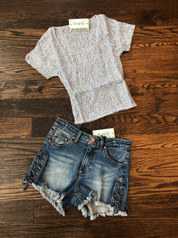 Summer White Plaid Crop