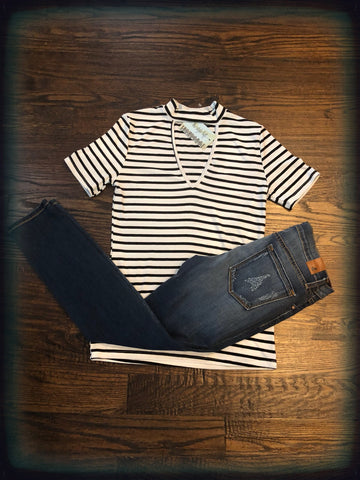 Black & White Striped Tunic with Keyhole
