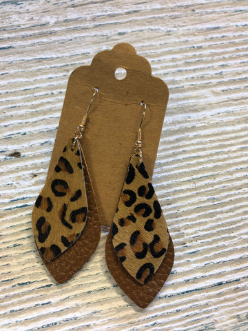Brown Leopard Earrings