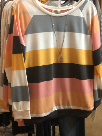 Blush/Charcoal Multi Color Stripe French Terry