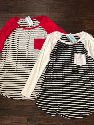 Ivory & Black Striped Raglan Tee
