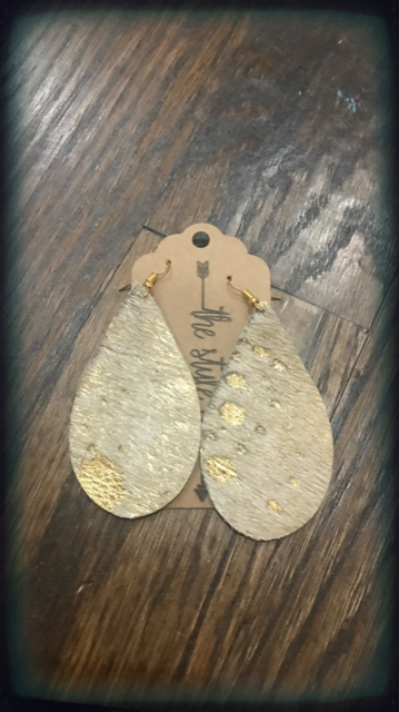Gold & White Hide Leather Earrings