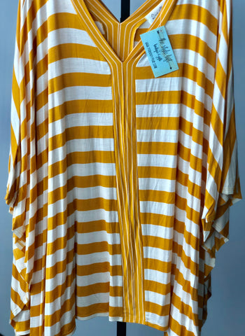 Mango/Ivory Oversized Stripe Poncho Tunic Top