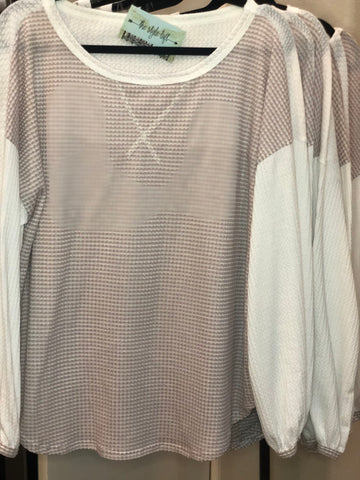 Dusty Lavender Double Waffle Knit Top Contrast Back