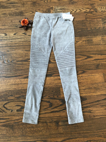 Grey Velvet Moto Jeggings