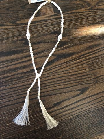 Cream Beaded Rope Tassel Long