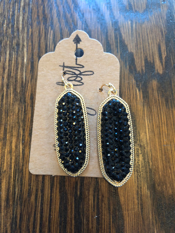 Black Glitter Stone Earrings