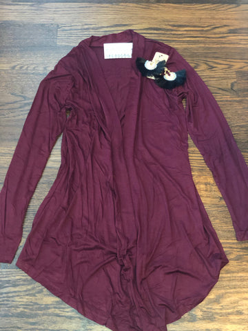 Dark Burgundy Draped Cardigan