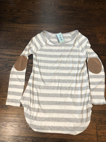 Heather Grey Ivory Striped Jersey Tee-Elbow Patch