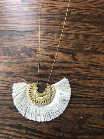 Ivory Crescent Metal Fan Tassel Pendant Necklace