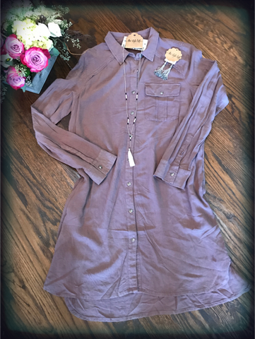 Cocoa Washed Shirt Dress