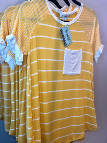 Summer Yellow Striped Short Sleeve Top