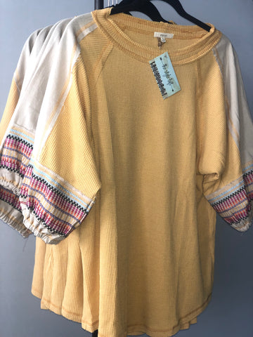 Mustard Half Bubble Embroidery Sleeve