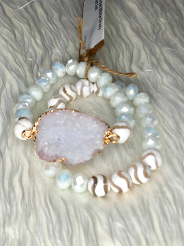 Summer White Druzy Bracelet Set