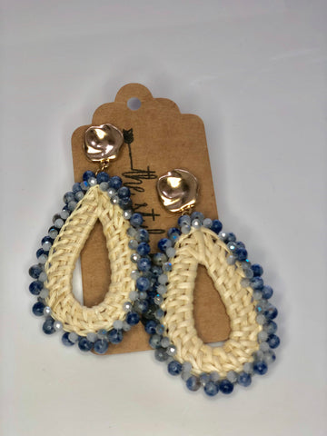 Natural Weave Tear Drop Blue Accent Bead