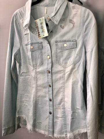 Destroyed Slim Denim Shirt