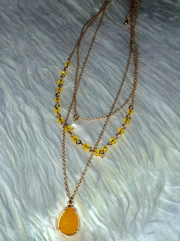 Sunshine Yellow Multi Layer Beaded Druzy Necklace