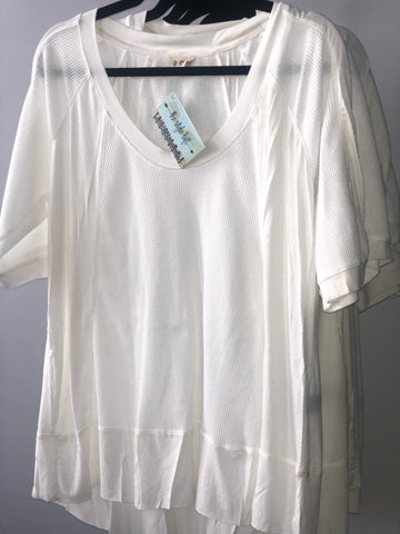 TSL Off White Relax Loose Fit Thermal & Ribbed Knit Top
