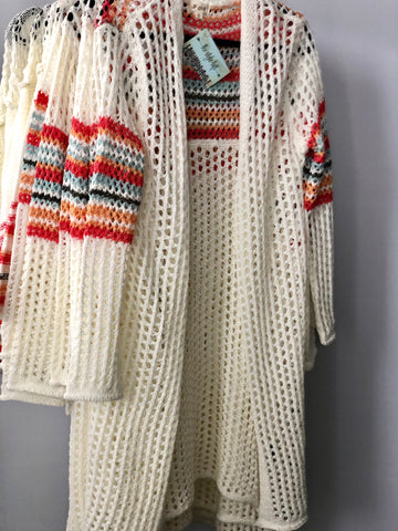 Ivory Lightweight Open Sweater Cardigan Stripe Detail