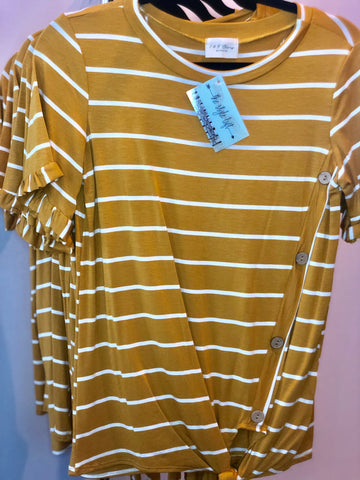 Mustard Striped Tie Front Shirt-Asymmetrical Button Accent