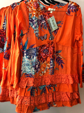 Orange Floral Dress Lace Ruffle Bottom Swim cover