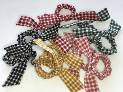 Gingham Tie Hair Scrunchies