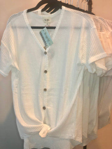 Off White Thermal Waffle Short Sleeve Buttoned Front Knit Top