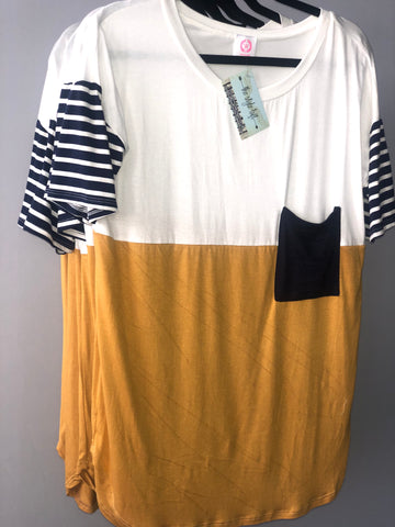 Navy & Mustard Color Block Contrast Top