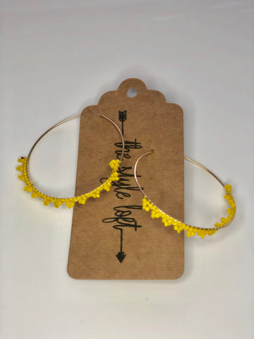 Yellow Hoop Beaded Earrings