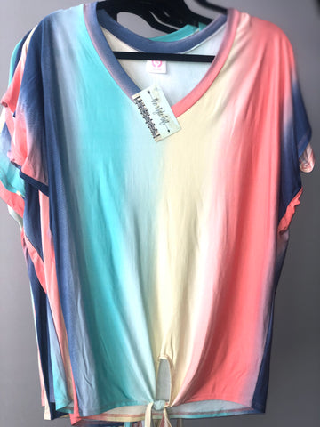 Loose Fit Multi Color Front Tie Top
