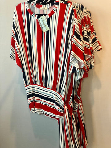 Red, White & Blue Striped Tunic with Sassy Tie