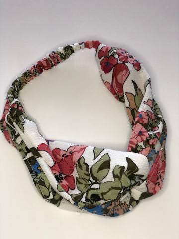 Summer Floral Twist Front Headband