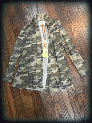 Camo French Terry Cardigan Olive