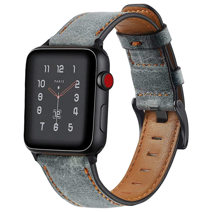 Retro Cow Leather Apple Watch Band Gray / 38mm/40mm