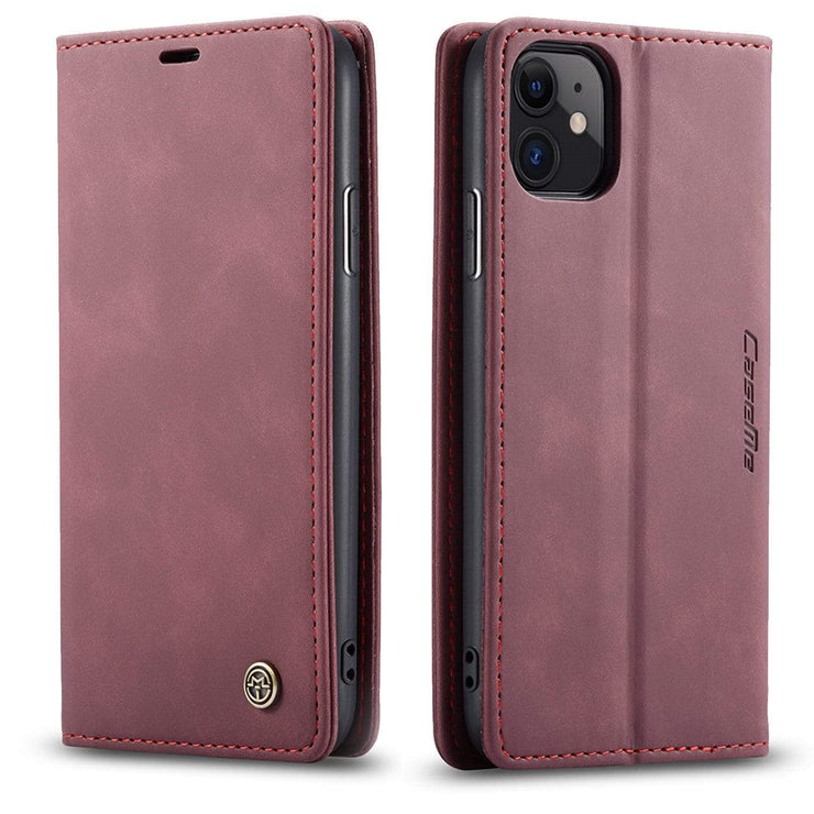 Leather iPhone Wallet Case Wine Red / iPhone XS Max