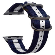 Apple Watch Double Buckle Nylon Band Blue White / 38mm/40mm