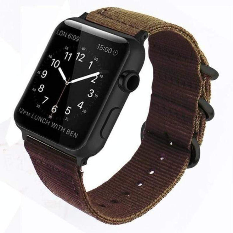 Apple Watch Double Buckle Nylon Band Coffee / 38mm/40mm