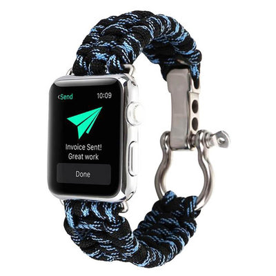 Apple Watch Rope Bracelet Band Black/Blue / 38mm/40mm