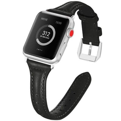 Apple Watch Slim Leather Bracelet Band Black / 38mm/40mm