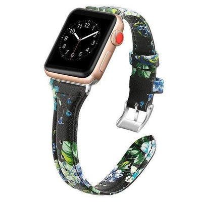 Apple Watch Slim Leather Bracelet Band Flower 3 / 38mm/40mm