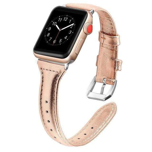 Apple Watch Slim Leather Bracelet Band Gold / 38mm/40mm