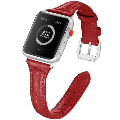 Apple Watch Slim Leather Bracelet Band Red / 38mm/40mm