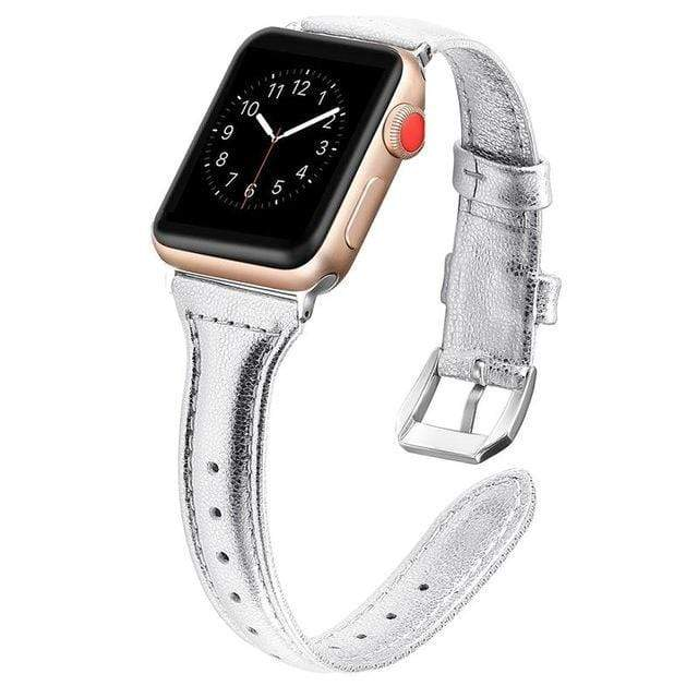 Apple Watch Slim Leather Bracelet Band Silver / 38mm/40mm