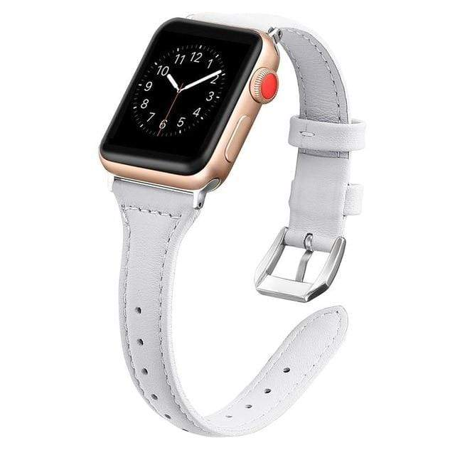 Apple Watch Slim Leather Bracelet Band White / 38mm/40mm