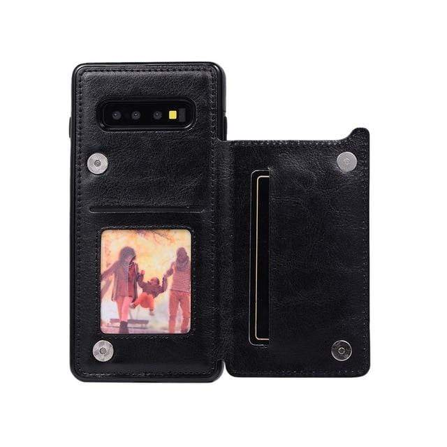 Leather Samsung Galaxy Note Wallet Case For Galaxy Note 8 / Black